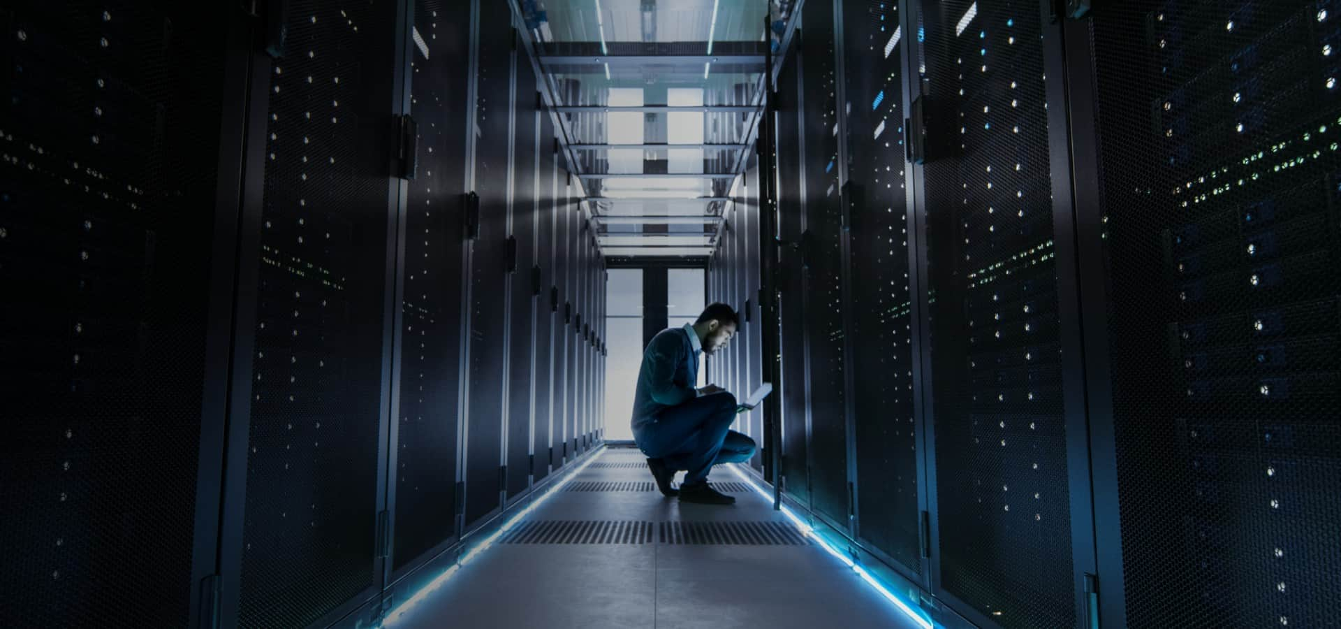Fully Managed Hosting services being performed by technician
